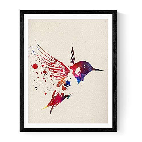 Nacnic Print for framing Hummingbird Style Watercolor Animal Creative Gifts. Laminae to Frame with Watercolor Style Images. Memorable Gift for a Friend. 250 Grams Paper