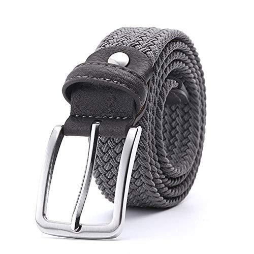 KGLOPYE Gürtel Canvasgürtel aus Leder mit Flechtgürtel für Herren und Damen, Grau, 155 cm