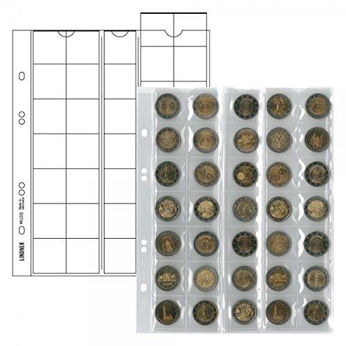 LINDNER Das Original Multi Collect Münzblätter für 35 Münzen bis 27 mm Durchmesser, Zwischenblätter schwarz, 5er-Packung
