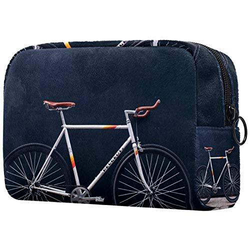 Personalised Makeup Brushes Bag Portable Toiletry Bags for Women Handbag Cosmetic Travel Organiser Bicycle Vehicle Wheel Retro