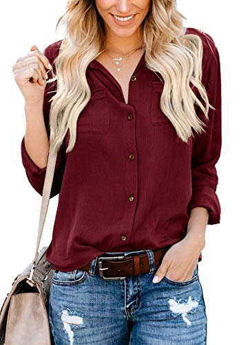 Ehpow Damen Bluse Langarm V-Ausschnitt Bluse Einfarbig Casual Button Down Oberteile Blusen Shirts (Large, Y-weinrot)