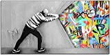 Banksy - Lienzo de graffiti abstracto detrás de la cortina Banksy Street Art lienzo pintura póster impresión Street Art imagen para salón sin marco (C, 80 x 160 cm)