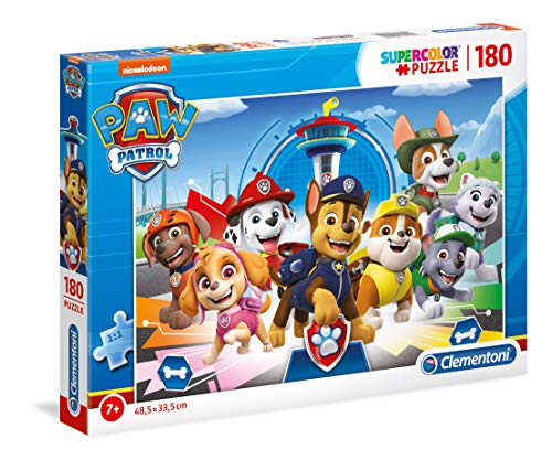 Clementoni 29105 Supercolor Puzzle – Paw Patrol – 180 Teile – Made in Italy – Kinder 7 Jahre +, Mehrfarbig