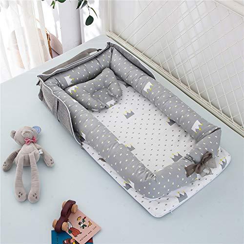 Luddy ベビーベッド 新生児 枕付き ベッドインベッド 折りたたみ式 携帯型ベビーベッド 添い寝 ポータブル 出産祝い 通気性 洗濯可能 0-24ヶ月