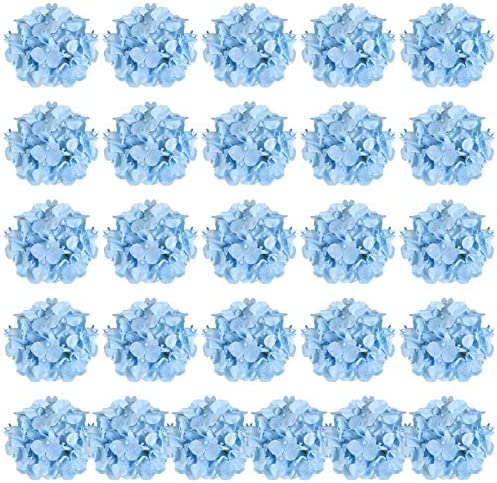 Auihiay 26 Pieces Silk Hydrangea Flowers Artificial Flowers Heads with Stems for Home Wedding product image