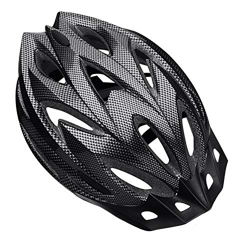Shinmax Bike Helmet, CPSC Safety Certified Bicycle Helmet for Men/Women with Detachable Sun Visor&Portable Bag Lightweight Cycling Helmet Adjustable Size for Adult Mountain Road (Carbon Fiber)