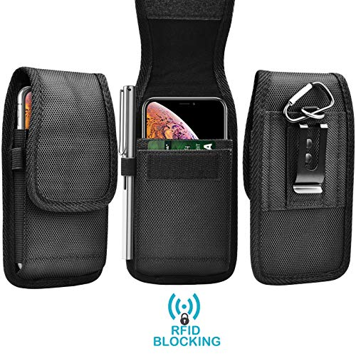 Tekcoo [RFID] Phone Holster for iPhone 12 Pro Max SE 11 XS XR/S21 Ultra/Note 20/A01 A02S A11 A12 A21 A32 A42 A52 A72 A51 A71 Nylon Oxford Belt Clip Pouch Carrying Wallet Case Card Holder Slots