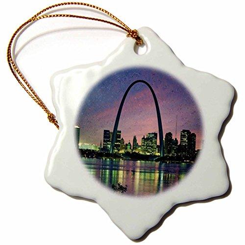 3dRose orn_56145_1 St Louis Missouri Arch at Nite Snowflake Decorative Hanging Ornament, Porcelain, 3-Inch