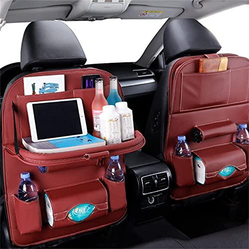 JTKJ Asiento de coche organizador de cuero de la PU bolsa de almacenamiento de coche organizador de mesa plegable bandeja de viaje bolsa de almacenamiento accesorios auto vino rojo