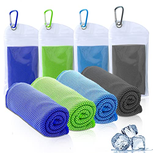 """Amgico Cooling Towel (40""""x12""""), Instant Cooling Relief Ice Towel Microfiber Towels for Sports Gym Fitness Hiking Yoga Jogging Running & Outdoor Activities 4 Packs"""