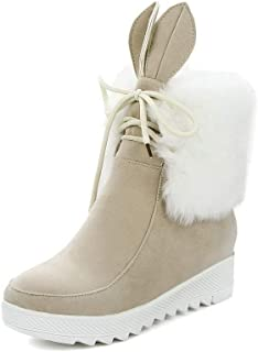 VogueZone009 Women's Assorted Color Imitated Suede Lace-Up Closed-Toe Boots, CCAXP118402