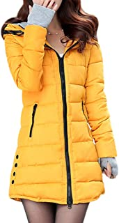 BOZEVON Women's Warm Winter Coat - Casual Quilted Hooded Jacket Padded Long Coat Overcoat Plus Sizes