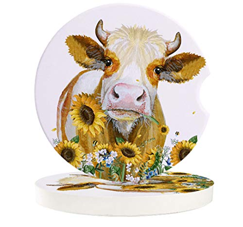 Farm Cow Absorbent Car Coasters for Cup Holders Set of 2 Watercolor Sunflower 256inch Ceramic Stone Drink Coaster Car Accessories for Women Men Funny Farmhouse Animal