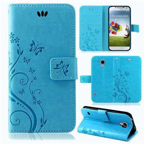 betterfon | Flower Case Handytasche Schutzhülle Blumen Klapptasche Handyhülle Handy Schale für Samsung Galaxy S4 Mini Blau