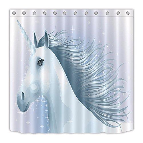 Top of top store Cortina de baño impermeable de unicornio con diseño de dibujos animados con 12 ganchos, antibacteriano y resistente al moho, 14, 150x180