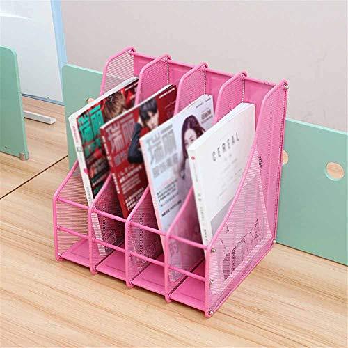 PN-Braes Briefablagen Systeme Iron Net Inner Arc Vierfach-Ordnerrahmen/Korb-Ordnerhalter/Rahmen-Zeitungsständer/Bücherschrank-Bar-Box Dateisortierung (Color : Pink, Size : 313x320x293mm)