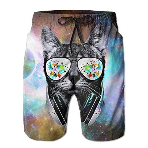 AZXGGV Men Summer Beach Trunks DJ Cat with Earphone Drawstring Elastic Waist Quick Dry Swimming Beach Board Shorts,Breathable Quick-Drying Swim Trunks Beach Shorts Board Shorts XL