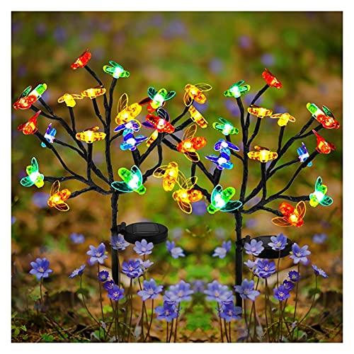 2 piezas al aire libre solar jardín luces de estaca eléctricas con...
