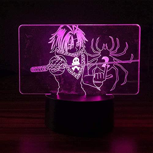 Luz de noche LED 3D, Feitan Hunter X Hunter Anime, figura de decoración para el hogar, con mando a distancia, creativo para niños, dormitorio, lámpara de mesita de noche, regalo de Navidad