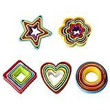 LHKJ Cortadores de Galletas de plástico con Formas de corazón, Estrella y Flor ect para Galletas, Moldes para Cortar Galletas - 25 Piezas