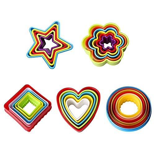 LHKJ Lot de 25 Emporte Piece Patisserie Plastique, Emporte Piece Rond Moule à Biscuits en Forme de Cœur, Étoile, Cercle, Fleur