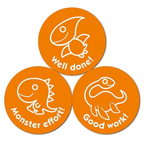 Oranje Dinosaurussen Stickers (38mm) - 10 vel Pack