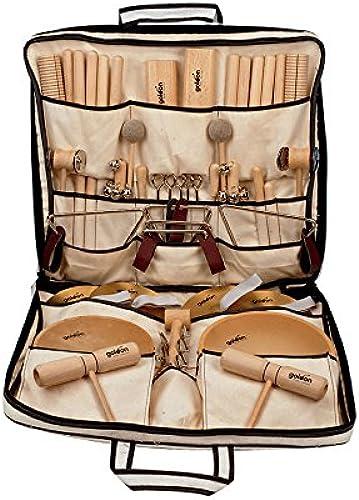 Goldon Rhythmustasche, 27 Instrumente, Claves, Holzblocktrommel, Triangel, Tamburin, uvm, für Rhythmusübungen, in stabiler Tasche