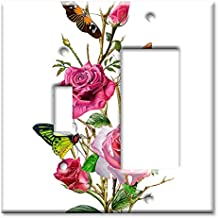 Art Plates - 2-Gang Combination Switch Plate - Toggle/Decora - Butterflies on Roses