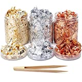 Gilding Flakes Gold Foil Flakes for Resin, 3 Jars 15 Grams Totally Craft Gold Metal Leaf, Metallic Flakes for...