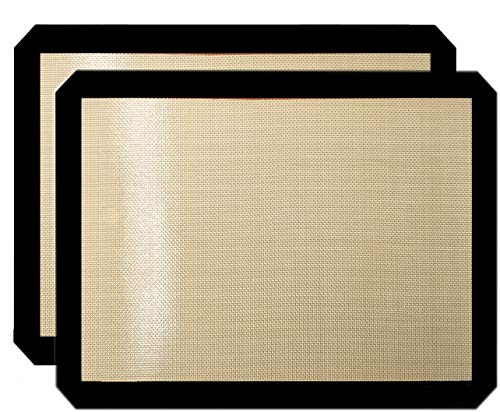Premium Non Stick Silicone Baking Mats Quarter Sheet Toaster Oven Liner Small,Set Of 2 Mats (Size 8.5' - 11.5')