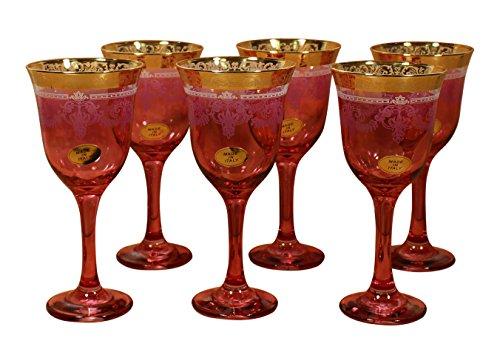 Lorenzo importación Goblets (Juego de 6), color rojo