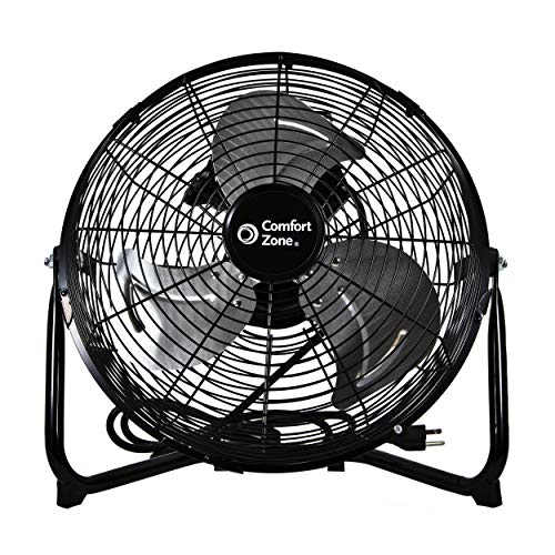 Comfort Zone CZHV12B 12-inch High-Velocity 3-Speed Floor Fan with 180-Degree Tilt