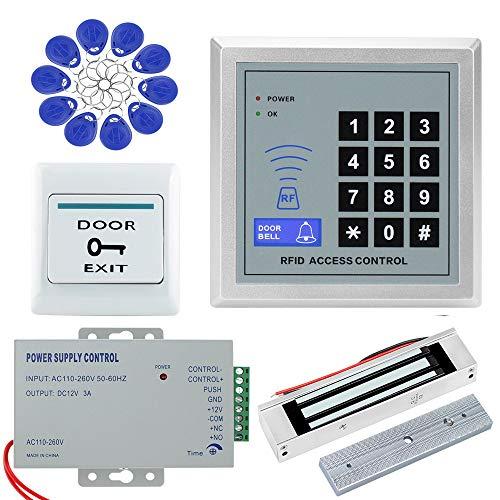 NN99 Kit de sistema de control de acceso de la puerta 125 KHz Teclado RFID + 180 KG Cerraduras magnéticas eléctricas + Fuente de alimentación de 12V + 10 Etiquetas clave para una sola puerta WG26