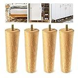 4本セット 家具脚 ソファ 脚 木製 無垢材 テーブル 脚 木、M8・ M10 規格 ボルト付き、家具パーツ Diy 置き換え足 、ソファー・ベッド・キャビネット足の交換用 6・15・20・25・30・40cm