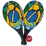 Frescobol Fiberglass Beach Paddleball Paddle Set Brazil Flag, Official Ball, Bag