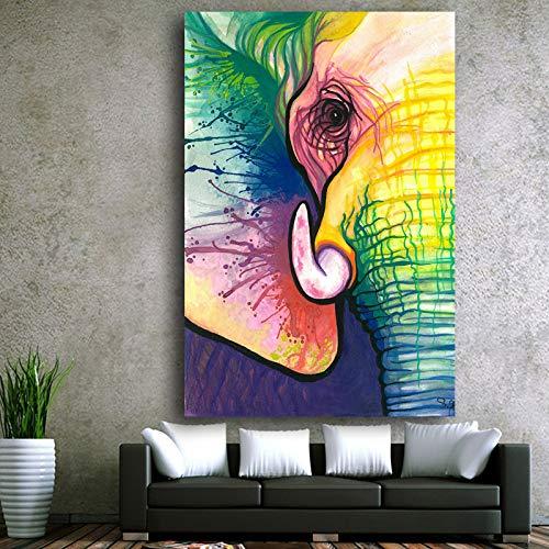 Leinwand Kunst Dekorative Malerei Elefanten Kunstdruck Poster Wand Tier Bild Für Wohnzimmer Wohnkultur (Kein rahmen) R1 50x70 CM