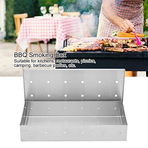 01 Räucherbox, hochtemperaturbeständige Räucherbox mit Edelstahlmaterial für Küchen, Restaurants, Picknicks für die Familie