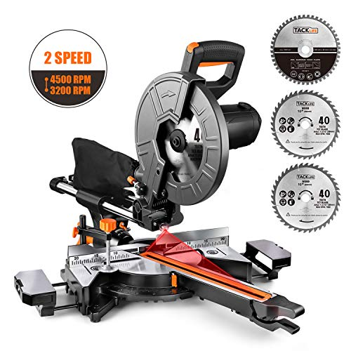 TACKLIFE 10-Inch Sliding Compound Miter Saw, 15 Amp Motor with Double Speed (4500 RPM & 3200 RPM), 3 Blades, Bevel Cut (0°-45°), Red Laser, Extension Table, Iron Blade Guard - EMS01A