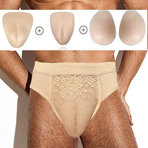 Panty de Crossdressing Gaff para Crossdressers, ropa interior femenina con almohadillas para levantar la mantequilla de la cadera (2XL, beige escondite Gaffs Panty con almohadillas para la cadera)