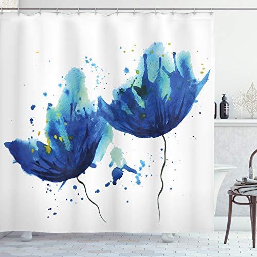 ABAKUHAUS Blau Duschvorhang, Floral Abstrakte Kunst, Klare Farben aus Stoff inkl.12 Haken Farbfest Schimmel & Wasser Resistent, 175 x 240 cm, Hellblau & Blau
