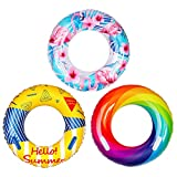Kribin Upgraded Inflatable Pool Floats with Handle Design - 3 Pack Swim Tube Ring Toys for Kids Adults Toddlers Swimming Pool Outdoor Beach Party