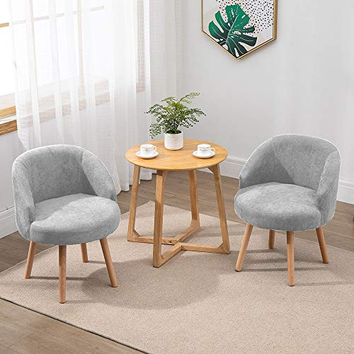QIHANG-UK 2 Pcs Modern Fabric Armchairs, Small Living Room Chairs Set of 2 with Solid Wood Legs, Occasional Chairs Sofa Lounge Tub Chairs Fireside Chairs, Grey
