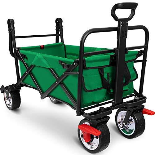 BEAU JARDIN Carretillas de Carro Plegable con Freno con Carro Plegable de Mano Carro Transporte para jardín Carro para Playa Carga hasta 80kg Verde