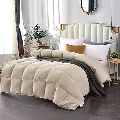 Hahaemall King Size Duvets 7.5 Tog-60% White Goose Feather/40% White Goose Down Winter Quilt (Superking)-Classic -Anti-allergy-Cooling-Duvet Quilt-D_220x240-1000g