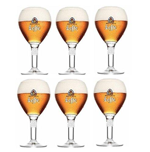 Leffe Gläser - Set mit 6 Gläsern - 33 cl pro Glas - Offizieller Kelch Large Stem - Perfekt zum Trinken Blonde, Brown, Ruby, Double, Triple + 6 Beer Mat