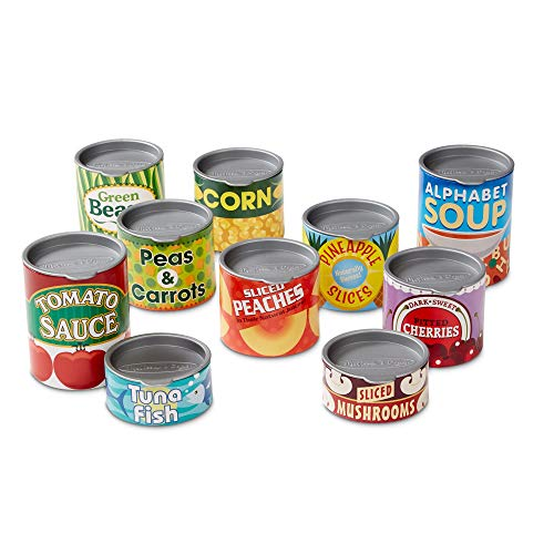 Melissa & Doug- House Grocery Cans 10 Latas de Juguete, Multicolor (14088)