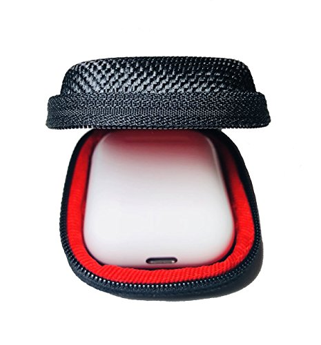 Qladcase for AirPods Hard Carrying Case, Compact Earbuds Holder MP3 Bluetooth iPod Earphones Earbuds Apple Headphones, Zipper Enclosure Perfect for Accessories (Black/Red NO Internal NET)