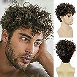 Peluca corta para hombres Peluca rizada en capas de color marrón ceniza Pelucas de pelo sintéticas para disfraz de Halloween con gorro de peluca