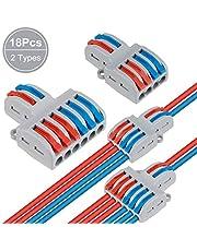 18 Pcs Conectores de Cable compactos Palanca Tuerca Cable Conector Bloque de Terminales Surtidas Conector (SPL-42 12Pcs, SPL-62 6Pcs)