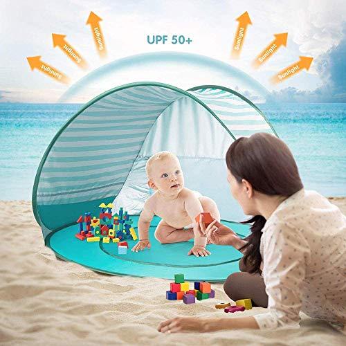 Mnjin Modedekoration Baby Beach Zelt, Automatischer tragbarer UV-Schutz Sonnenschutz mit Babybecken, Leichtgewicht, 120 x 80 x 70 cm (Lake Green Stripes)